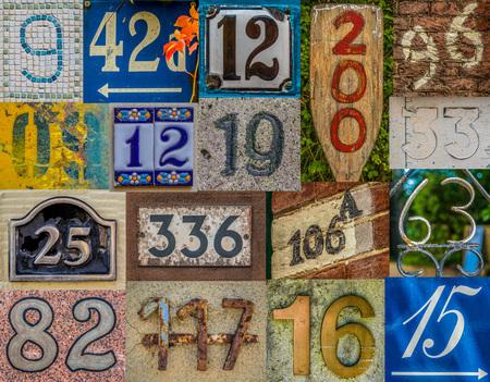 Collage de varios números de las casas de alrededor del mundo, entre ellos Francia, Reino Unido, Países Bajos, Hawai, Canadá y Alemania Foto de archivo