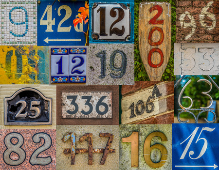 Collage Of Various House Numbers From Around The World Including France, UK, Netherlands, Hawaii, Canada And Germany Imagens - 60889848