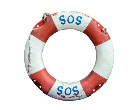 SOS Handwritten On A Rustic Old Lifebuoy Stok Fotoğraf
