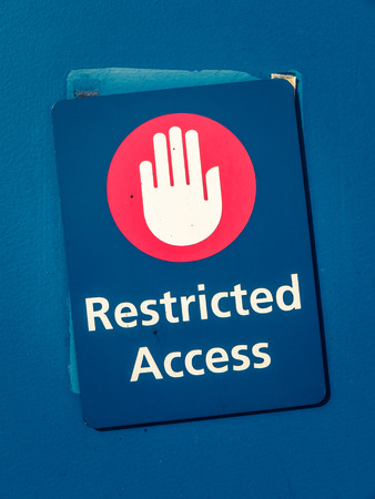 access restricted: Grungy Restricted Access Sign With A Hand Symbol