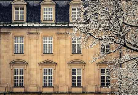 stately: A Luxury Mansion House In Europe In The Winter Snow
