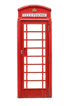 phonebooth: Isolated Vintage Traditional Red British Phone Box Or Booth On A White Background