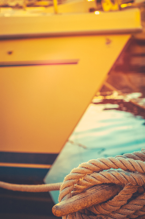 Retro Vintage Style Detail Of A Luxury Yacht Moored In A Marina In Honolulu, Hawaii Stock Photo