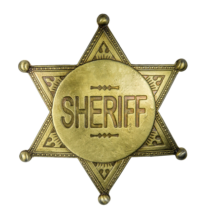 Isolated Retro Vintage Brass Sheriff Star Badge On A White Background Stock Photo