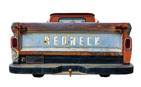 Grungy Old Pickup Truck With Redneck On The Back