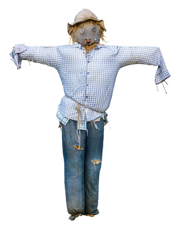 Spooky Isolated Scarecrow With Hat And Button Eyes On White Background