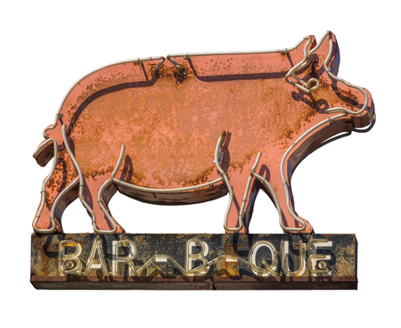 Isolated Grungy Rustic Old Neon Pig Sign For A Bar-B-Que (Barbecue) Diner