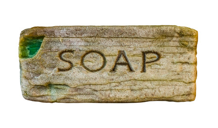 Isolated Vintage Bar Or Cake Of Soap With The Word Soap Embossed