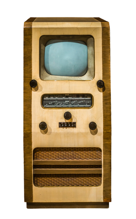 Isolated Vintage Retro British Cabinet Television And Radio Set