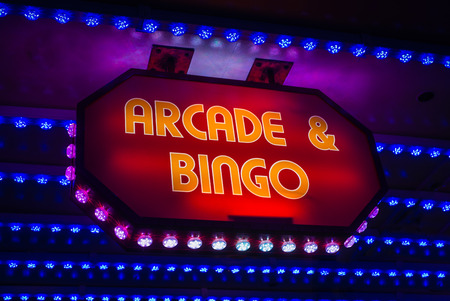 Retro Amusement Arcade And Bingo Sign On A Marquee In A British Seaside Resort