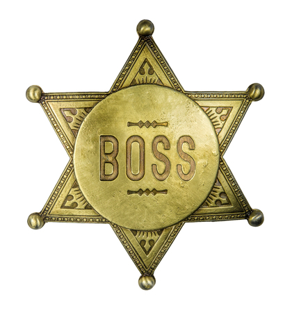 Isolated Brass Boss Badge In The Style Of A Vintage Sheriff's Star On A White Background Imagens