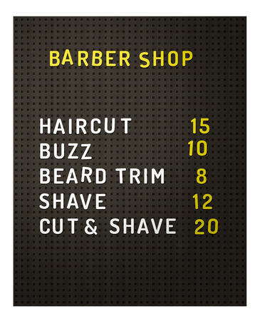Isolated Retro Vintage Black Peg Board At A Barber Shop With Prices On A White Background