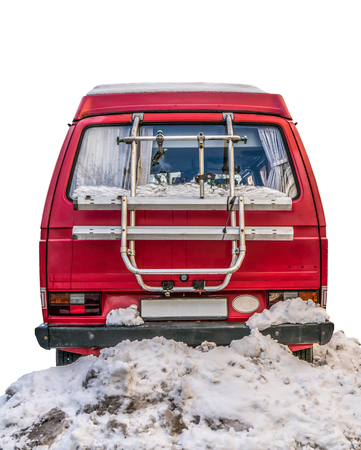 Isolated Retro Vintage Red Camper Van Parked In The Snow On A White Background