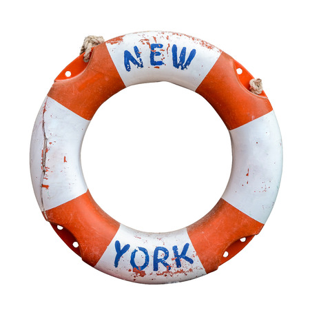 A Rustic Old Lifebuoy Or Life Preserver From A Ferry In New York City, USA