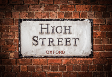 A Sign For Oxford High Street, In England, UK
