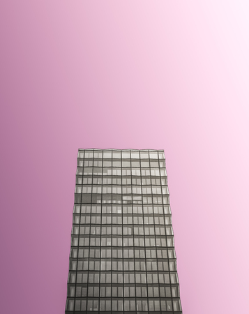 Black And White Modern Skyscraper Design On Pink With Copy Space