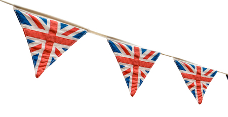 Isolated British Union Jack Flag Fabric Bunting