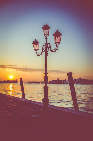 Sunset Over The Water In Venice Italy Stock Photo