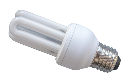 Isolated White Energy Saving Eco CFL Lightbulb