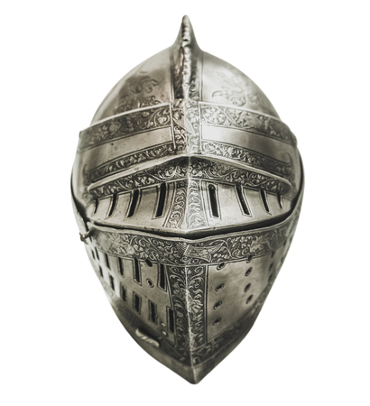 Isolated Authentic Knight's Armour Helmet With Shallow Depth of Focus And A White Background Stock Photo