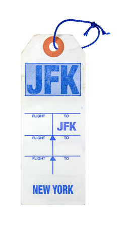 Vintage Retro New York City (JFK) Airport Luggage Label Or Tag With String On A White Background Stock Photo