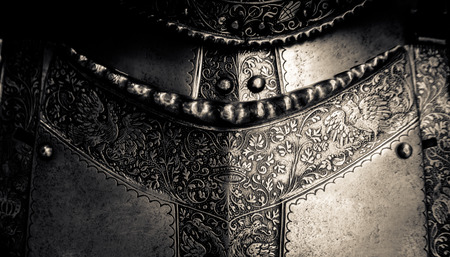 Detail Of A The Breastplate On A Medieval Suit Of Knights Armour Stock Photo