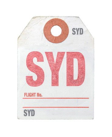 Vintage Retro Sydney Airport Luggage Label Or Tag On A White Background