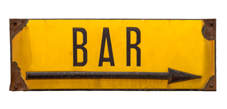 Isolated Rustic Rusty Street Sign For A Bar With Arrow On A White Background Stock Photo