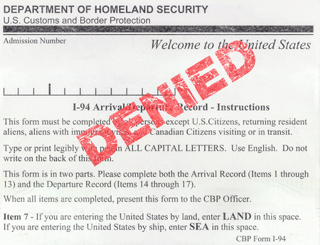 Detail Of A Denied USA Immigration Customs And Border Protection Form (I-94)