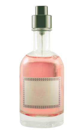 Isolated Pink Perfume Bottle With Blank Label For Your Text Stock Photo