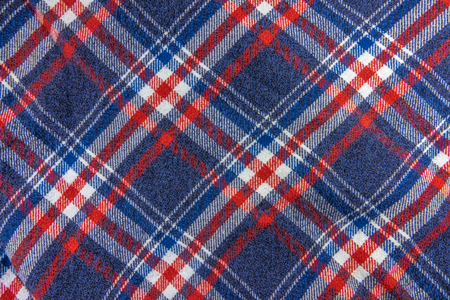 Abstract Background Texture Of A Blue, White And Red Plaid Hipster Shirt Pattern