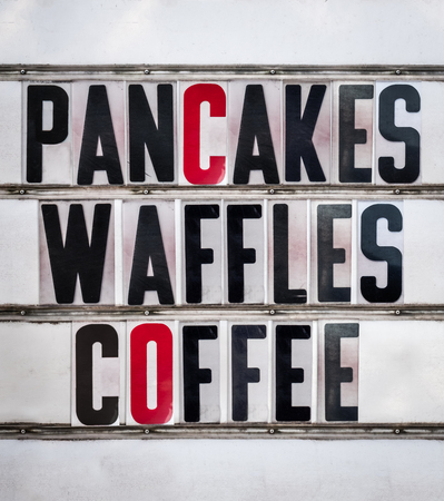 A Retro Vintage And Grungy Sign For A Breakfast Cafe Or Diner Advertising Pancakes, Waffles and Coffee