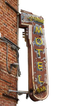 Isolated Grungy Retro Metal Motel, Restaurant And Bar Sign With Brick Wall And White Background Stock Photo