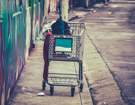 A Shooping Cart Used By A Homeless Person In San Francisco, USA Stock Photo