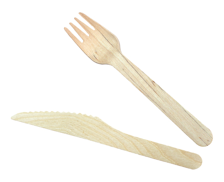 Isolated Wooden Knife And Fork For Take-out Food On A White Background Stockfoto