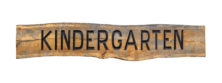 Isolated rustic wooden sign for a KIDERGARTEN Stock Photo