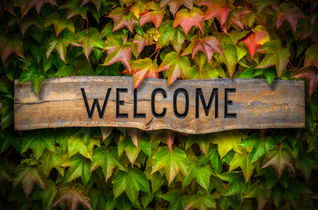 Rustic retro wooden carved WELCOME sign against a beautiful leafy backdrop outside a school or hotel or restaurant Stock Photo