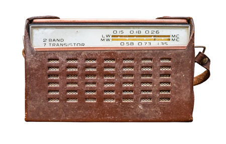 Isolated Vintage Retro Old Fashioned Transistor Radio In A Brown Leather Case Reklamní fotografie