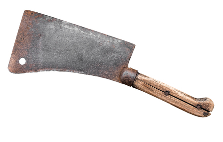 Isolated Old Fashioned Meat Cleaver Or Hatchet Knife On A White Background Reklamní fotografie
