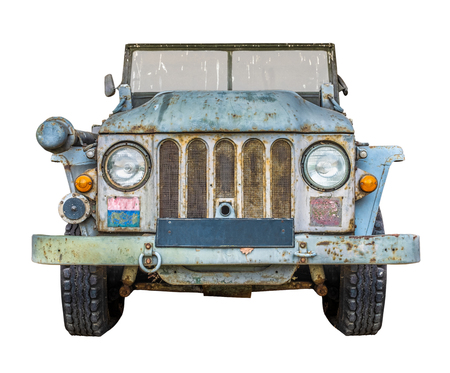 War Era Vintage Army Truck Isolated On A White Background Foto de archivo