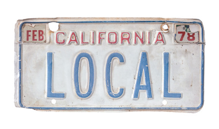 Isolated Grungy 1970s California Local License Plate Banco de Imagens