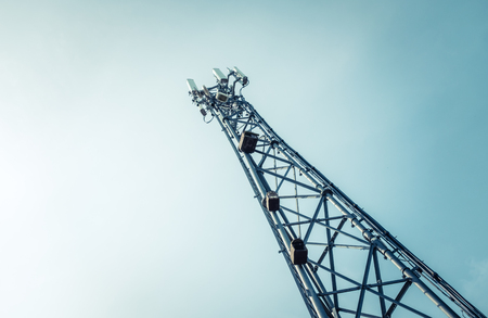 A Telecommunications, Cellphone Or Mobile Phone Tower With Copy Space Stock Photo