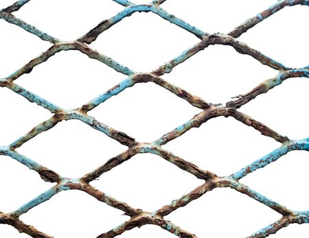 Isolated Grungy Old Rusty Chain Link Fence On White Background
