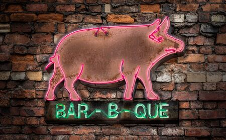 Neon Rustic Old Neon Pig Sign For A Bar-B-Que (Barbecue Or BBQ) Diner