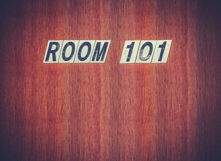Fear Concept Image Of A Grungy Old Door With A Room 101 Sign