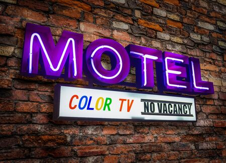 Retro Neon Motel Sign In California Advertising A Color TV