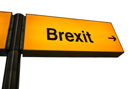 British Style Orange Airport Sign With An Arrow And The Word Brexit
