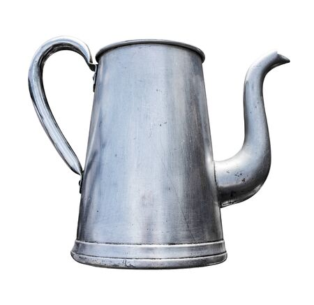 Antique Slim Metal Teapot With Handle And Spout Isolated On A White Background