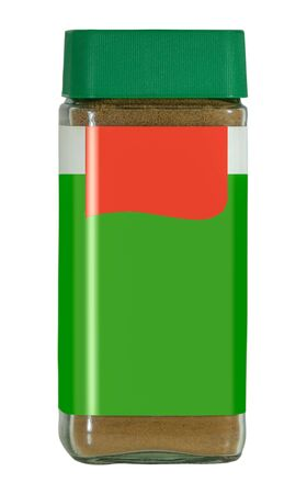 A Retro Style Jar Of Instant Granulated Coffee With A Blank Green And Red Label On A White Background Imagens