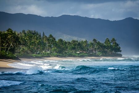 Luxury Beachfront Houses On Hawaii's North Shore On A Stormy Day 写真素材